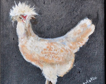 Acrylic painting on stretched canvas Fuzzy Headed Chicken