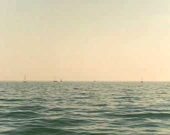 Nautical beach photograph beach photography 8x10 lake michigan fine art sailboat wall art summer ocean photograph chicago navy yellow