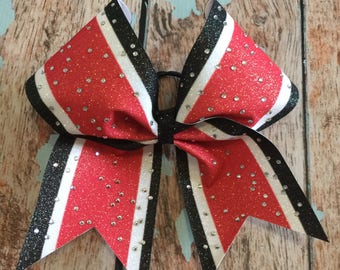 Large Glitter Rhinestone Cheer Bow you pick the color