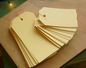50 Standard Gift Tags / L - Pale Yellow (1.8 x 3.8in)