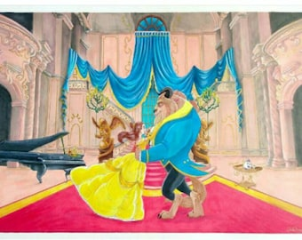 Beauty and the Beast - Copic Marker Illustration - Print