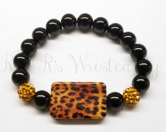 Beaded Bracelet, Leopard Print Bracelet, Women's Bracelet, Handmade Jewelry, Handmade, Animal Print,