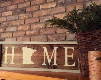Minnesota home sign. Rustic. Wall Decor. Wood. Holiday gift.