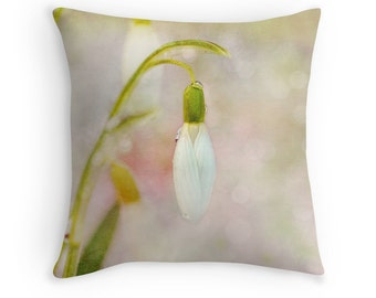 Snowdrop Flower, Spring Pillow Covers, Spring Decor, Spring Pillows, Pastel Cushions, Pastel Throw Pillows, Flower Cushions, Pretty Pillows