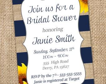 Sunflower Bridal Shower Invitation!  - PRINTABLE