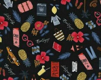 Rifle Paper Bon Voyage in Black - Cotton + Steel Fabric - Travel Fabric - Anna Bond Les Fleurs - Quilting Cotton - Have a Safe Trip Fabric