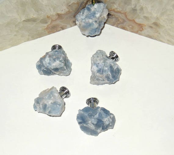 Rough BLUE CALCITE Stone Cabinet Pulls   Free Form Stone Knobs   Raw Stones    Home Decor From BottegaInspirations On Etsy Studio