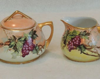 Vintage O. & E.G. Royal Austria Hand Painted Porcelain Cream And Sugar.. Grapes  And Vines