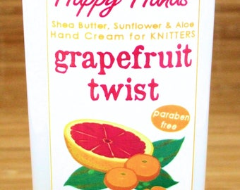 Scented Shea Butter Hand Lotion - Grapefruit Tangerine Fragrance - Free Sample - Hand Cream for Knitters Happy Hands Knitting