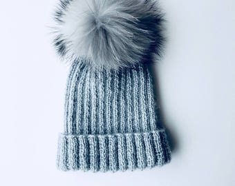 Knitted Hat // Handmade Winter Hat // Real Racoon Pom Pom