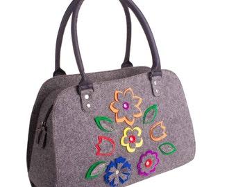 felt purse Felt handbag Women purse shoulder bag Everyday handbag Women's bag Grey felt bag Women Handbag Floral handbag Felt bag