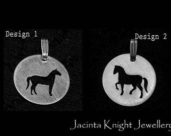 Sterling silver horse pendant - 14mm, 16mm, 19mm or 22mm