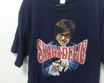 Vintage 1998 AUSTIN POWERS Size L Free Shipping SHAGADELIC Shall We Shag Now Or Later? Movie Promo