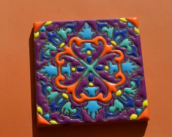 "6   Mexican Talavera Tiles handmade- Hand painted 4 ""X 4"""