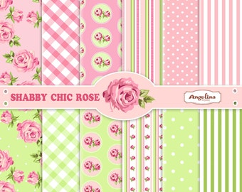 12 Shabby Chic Rose Pink and Green Digital Scrapbook Papers. 4 vector images in 1 EPS for invites card making digital scrapbooking