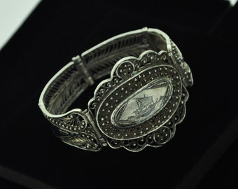 Antique Victorian Silver Ornate Orient Design Filigree Panel Bracelet