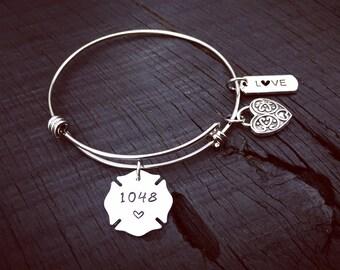 Maltese Badge Bracelet   Firefighter's Jewelry   Fireman's Wife Jewelry Gift   Firefigher's Girlfriend Gift   Fireman's Mom Jewelry Gift