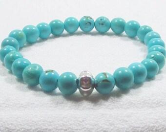 Véritable Bracelet Turquoise, bijoux Turquoise, Bracelet Turquoise, Bracelet de Yoga, Pierre de guérison, guérison de bijoux, TQ272