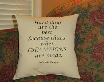 Champions Are Made Beige Canvas Throw Pillow