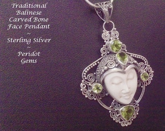 Necklace 050: Large Traditional Balinese Face Bone Carving Artisan Crafted Sterling Silver Necklace with Peridot Gemstones | Gifts for Women