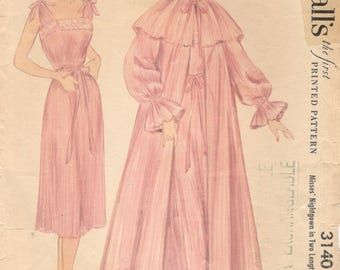 McCalls 3140 1950s Misses Cape Collar Peignoir and Nightgown Pattern Accordian Pleated  Womens Vintage Sewing Pattern Size 18 Bust 36 UNCUT