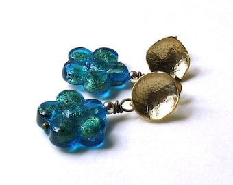 Minimalist Teal Blue and Gold Murano Glass Post Stud   Earrings   Venetian Glass Small Earrings For Her Under 50