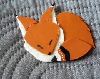Polymer clay and felt Fox magnet