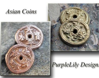 Asian Coins, Metal Clay charms, PurpleLilyDesigns