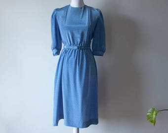 Vintage Cornflower Blue Dress with Belt / 1980s Clothing / 1980s Dress / Silky Dress / Long Dresses / Belted Dress / Vintage Dress