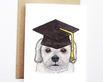 Graduation Card - Lhasa Apso, Grad Card, College Graduation, High School Grad, Congrats Grad, Congrats Card, Cute Dog Card