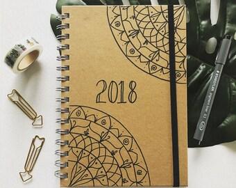 A5 journal diary notebook 2018 personalised quote book mandala organiser
