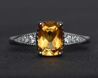 silver citrine ring yellow crystal ring cushion cut gemstone ring November birthstone ring