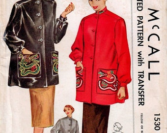 1950s McCall 1530 UNCUT Vintage Sewing Pattern Misses Smock, Oriental Smock, Dragon Hand Embroidery Size 18 Bust 36