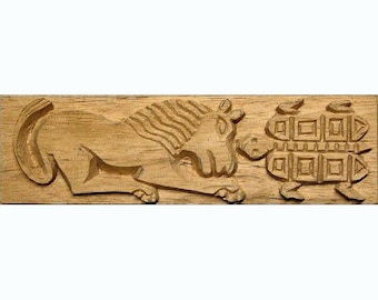 Lion and Turtle, African Printing Block Textile Stamp - Oshiwa Carved Wood Printing Stamp, 8.25'' x 2.25'', Item 16-4-106
