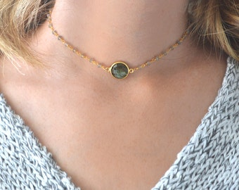 Gold Choker Necklace | Gemstone Choker | Labradorite Choker | Choker Necklace | Beaded Choker | Rosary Chain Choker | Gold Dainty Choker