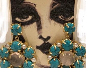 Turquoise and rose quartz flower Cluster earrings