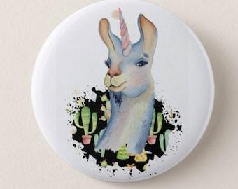Badge pin 32mm lama who thinks a Unicorn