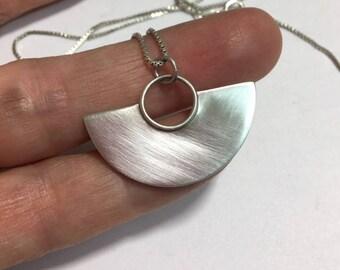 Sterling Silver Fan Pendant Necklace - modern minimal design - sterling box chain - artisan design