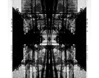 Dark art print Black and White Surreal artwork Collage Surrealist Rorschach Surrealism Lowbrow Contemporary Fine art prints Giclee
