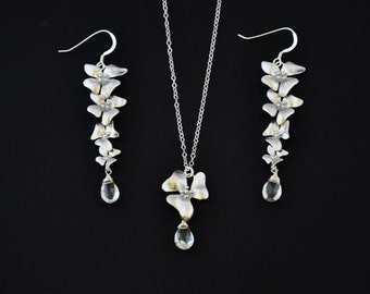 Silver Dogwood Jewelry Set with White Topaz Gemstones - Wedding Jewelry, Bridesmaids Jewelry, Dogwood Necklace, Dogwood Earrings