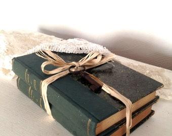 antique book set, French antique books, vintage book set, green book bundle, green book stack,