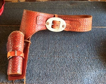 Women's/Girl's Leather Embossed Gun Belt and Holster
