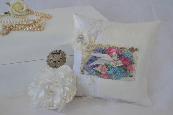 """Wedding Ring Bearer Pillow """"Dove"""""""