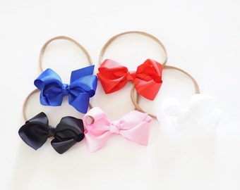 Set of 5 Small Double Bows on Skinny Nylon Headbands or Clips, MORE COLORS AVAILABLE