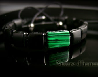 Men's jewelry - Bracelet-woven new trend in squares of onyx and malachite Ref: BN-502