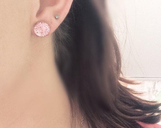 SALE Pink bubble post stud earrings.