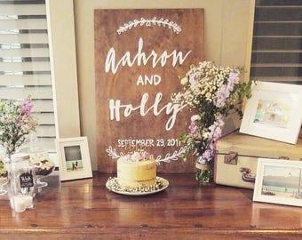 XL 90x60 Wedding Names Sign, Custom Wooden Sign, Wedding Wooden sign, Photo Prop, Personalized Wedding Date Sign, Wedding Gift |