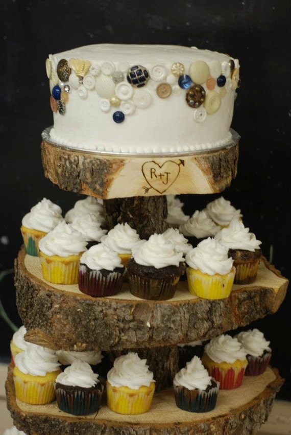 Rustic Wood Tree Slice 4 Tier Cupcake Stand For Your Wedding Event Or Party As Seen On HGTV And The Tomkat Studio