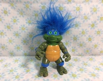 1993 Ninja Turtles Troll Doll Leonardo Blue Hair Mirage and Playmates Toys Action Figure