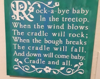 Rock a bye Baby Sign for Baby's Room